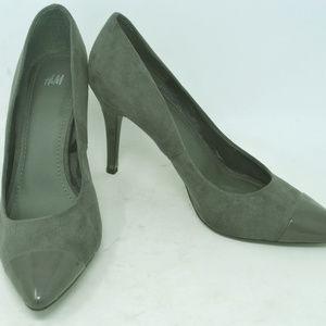 H&M Women's Suede Grey Pointed Toe Stiletto Heels
